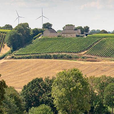 Blik op het Jekerdal en de Louwberg vanaf de Sint Pietersberg in Maastricht